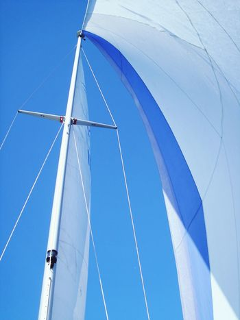 Yacht Sails Sails Up Blue Sky Relaxing Summertime Summer Travel