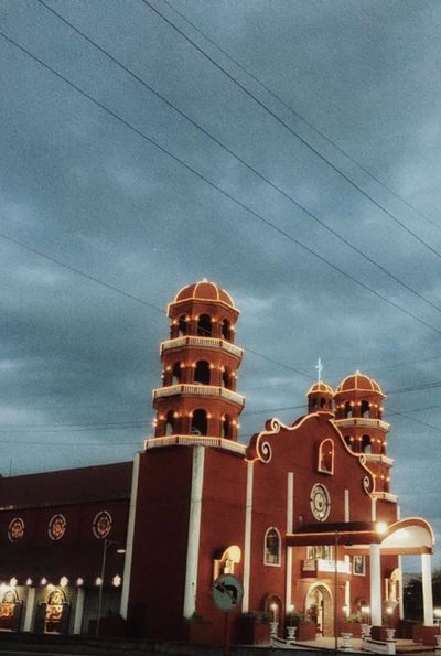Terra cotta churhc Architecture Buildings Churches Facades House Of Worship Lights No People Terra Cotta