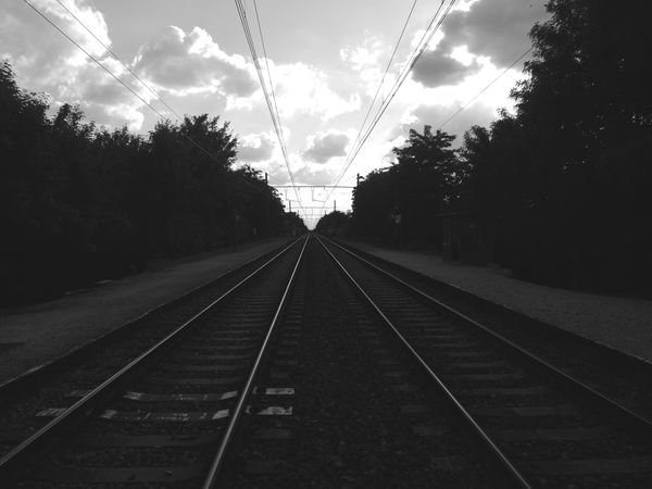 Rail Transportation Railroad Track No People Travel Transportation Train - Vehicle Outdoors Sky The Way Forward Cloud - Sky Day Tree Street Streetphotography Taking Photos 2017 Belgium Sunny Day Huaweiphotography Building Exterior Niceday Leica Lens Follow4follow People Photography Photography