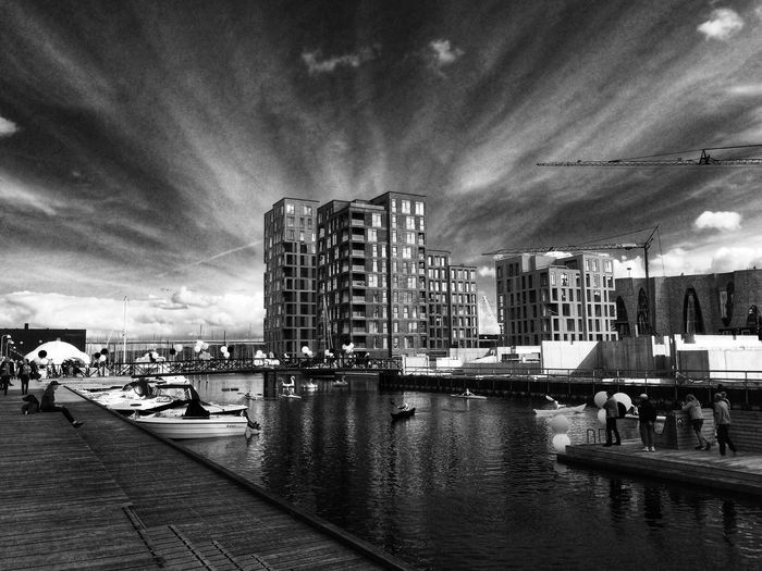 Waterfront in my new hood Vejle EyeEm Best Shots Eye4photography  Streetphotography Boats Harbour Marina Waterfront Sky And Clouds Black And White Blackandwhite Bnw_collection Bnw Water_collection Water Architecture Denmark Vejle Mette Bruus Mettebruus Building Exterior Water Architecture City Built Structure Sky #urbanana: The Urban Playground Cloud - Sky Mode Of Transportation Building Cityscape A New Beginning