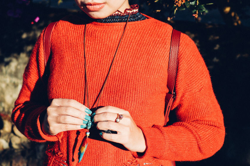 Woman winter fashion Winter Winter Cardigan Orange Jacket Green Nail Polish Necklace Ring Boho Bohemian Style Bright Color Clothing Street Fashion Adults Only Young Adult Outdoors Portrait Human Hand