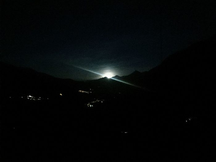Moon Rise Over Mountain Switzerland