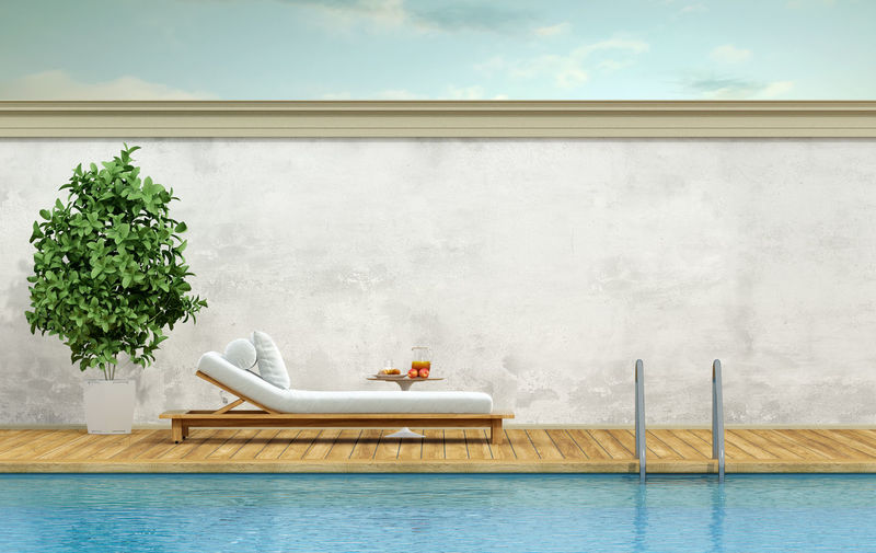 Deck Chair Minimalist Plant Wall Architecture Day Day Bed Relax Sky Swimming Pool Water Whotel Wood - Material