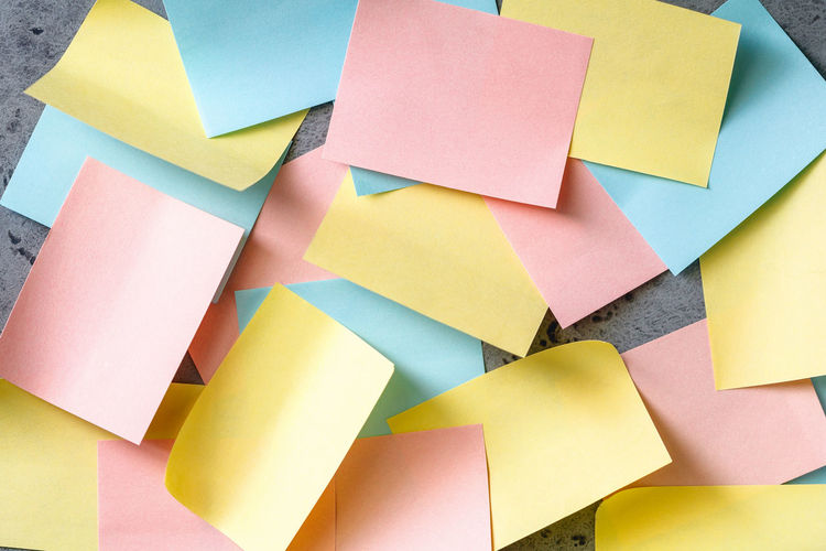 Close-Up Of Colorful Blank Adhesive Notes