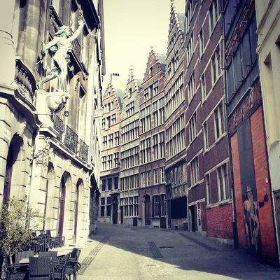 I love this so much! All the architecture Street Old Building Statue Architecture Love Antwerpen Belgium Belgie City Citytrip Travel Sunday Sun Instagram Instatravel Instagood Instabelgium Bjorngruppen Dutch