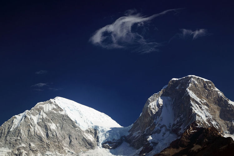 View Of Snowcapped Mountain Peaks Against Sky