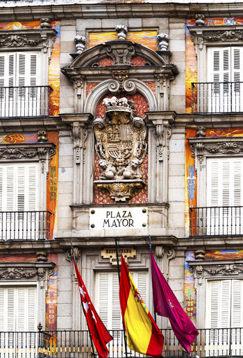 Madrid Spain detail of a decorated facade and balconies at the Plaza Mayor City Historical Building Square Architectural Detail Architecture Building Exterior Day Decoration Europe Famous Place Landmark No People Outdoors Plaza Mayor Plazamayor