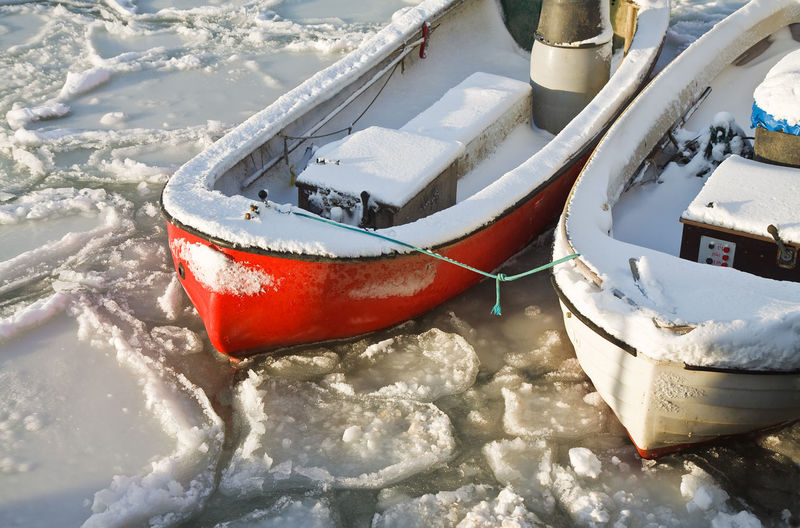 High Angle View Of Boats Moored On Frozen Sea