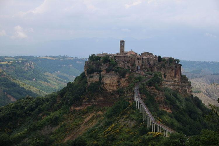 Buildings on mountain at civita di bagnoregio