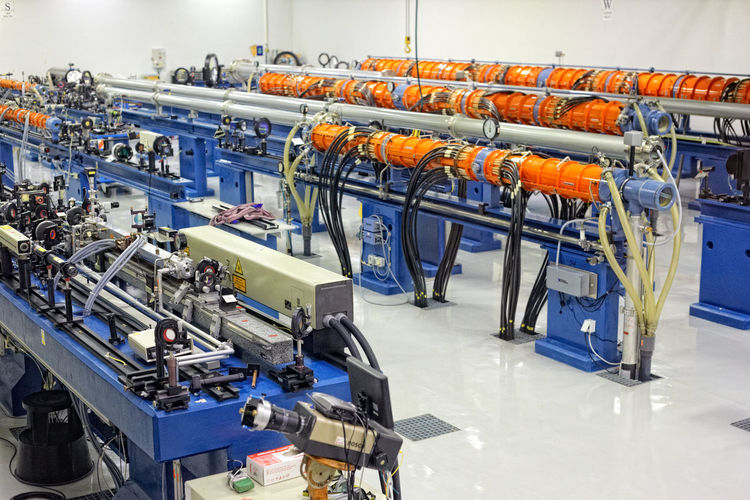 High angle view of machinery in industry