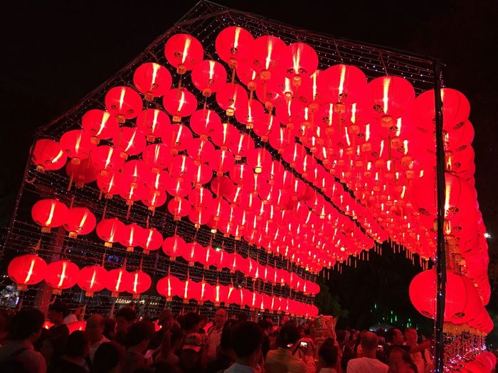 Red Chinese Lantern Large Group Of People Cultures Celebration Chinese New Year Night Paper Lantern Real People Illuminated Crowd Chinese Lantern Festival Outdoors Sky Adapted To The City