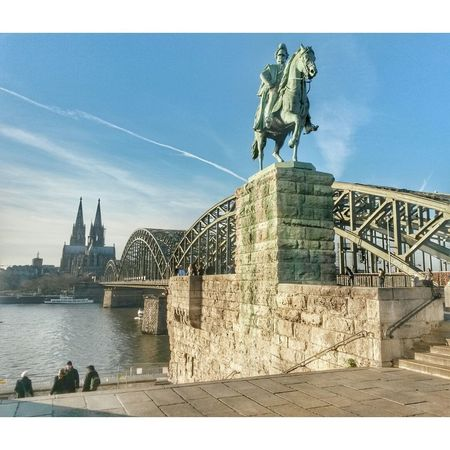 Kaiser Wilhelm Reiterdenkmal Dom Kölner Dom Rheinufer Rhein Cologne , Köln,  Schälsick Rhine Köln Reiterstatue Reiterdenkmal Kaiserwilhelmdenkmal Köln, Germany Hohenzollernbrücke Liebesschlösser Denkmal Panorama Built Structure Architecture History Statue No People Sky City Water River Travel Destinations Sculpture Outdoors Tourism Day