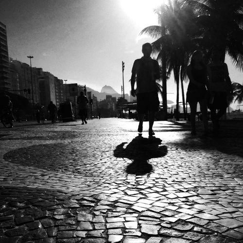 Man walking on footpath