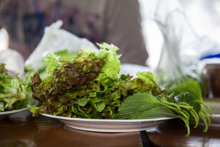 Close-up Day Dish Focus On Foreground Food Freshness Green Green Color Growth Leaf Lettuce Nature No People Plant Preparing For Party Selective Focus Selective Focusing Sesame Leaf Still Life Table Vegetable