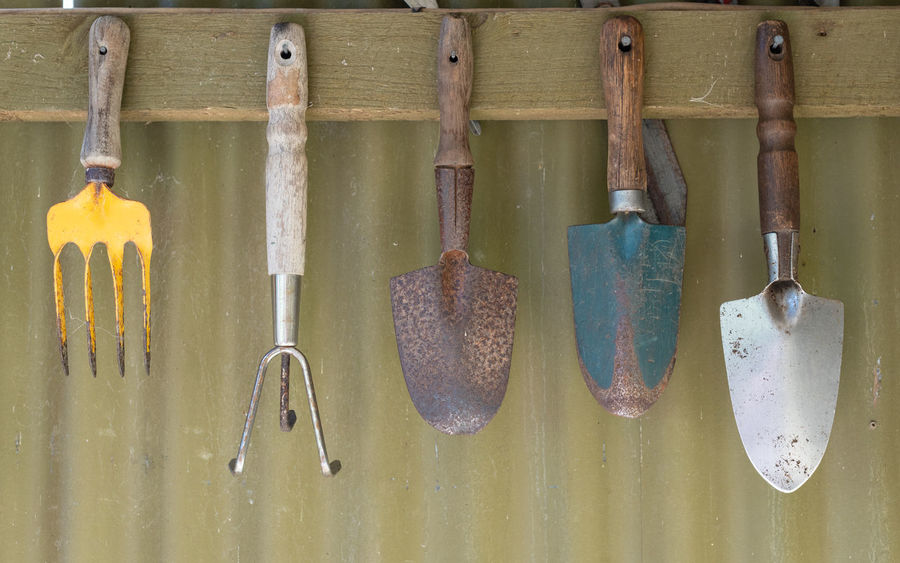Garden tools hanging neatly on shed wall Gardening Choice Close-up Day Equipment Gardening Gardening Equipment Group Group Of Objects Hand Tool Hanging Indoors  Metal No People Shovel Side By Side Still Life Tool Variation Wall - Building Feature Wood - Material Work Tool