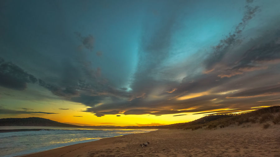 Sunset and dramatic clouds at South Arm beach Beauty In Nature Evening Sky Tranquil Scene Dusk Twilight Sky Beaches Water Sunset Sea Yellow Beach Blue Horizon Sky Landscape Horizon Over Water Dramatic Sky Moody Sky Cloudscape Storm Cloud Seascape
