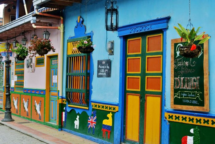 Guatape street Street Colors Windows Plants Old Town Wall