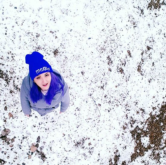 Drone shot Drone  Girl Aerial View Aerial Shot Child Children Only Winter One Person Childhood Warm Clothing One Girl Only People Portrait Snow Cold Temperature Technology Human Body Part Outdoors Day Winter smile First Eyeem Photo
