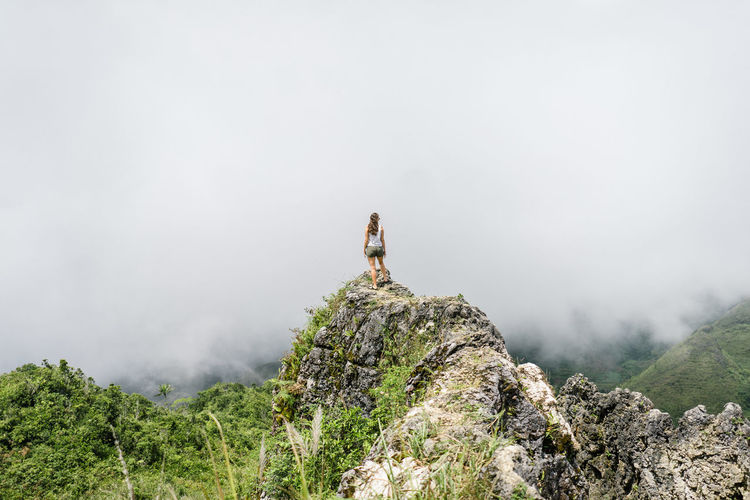 Fog Mountain Rock Rock - Object Beauty In Nature Solid Nature Scenics - Nature Tranquility Tranquil Scene Day Non-urban Scene People Idyllic Leisure Activity Outdoors Environment Adventure At The Edge Of Mountain Peak Looking At View