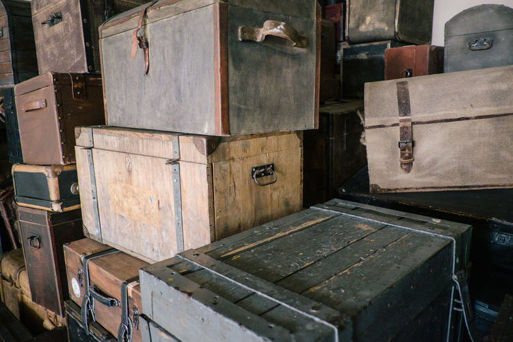 Wood - Material Indoors  No People Container Old Box Still Life Stack Luggage Box - Container Brown Day Suitcase Abandoned Large Group Of Objects Backgrounds Group Of Objects Drawer Travel