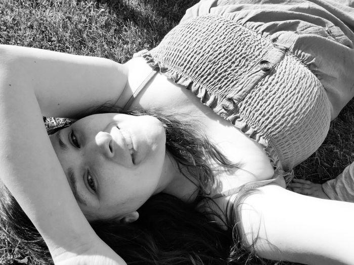High angle portrait of woman lying down