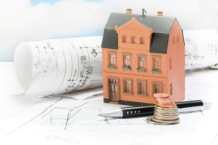 Architecture Budget Business Loan  Objects Planning Plant RISK Building Built Structure Coins Costs Day Expenses Finance House Income Investment Model Mortgage No People Property Real Estate Residential Building Sky