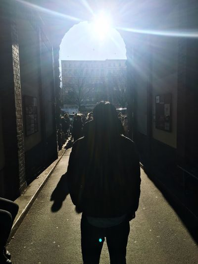 Berlin Sun Cold Temperature Winter Man Rear View Walking Illuminated Standing Real People One Person