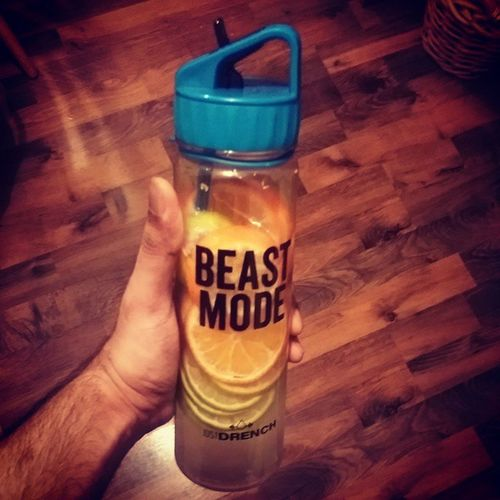 Got my @justdrench bottle, lets beast mode this training Orange Lime Water Justdrench beast mode blue