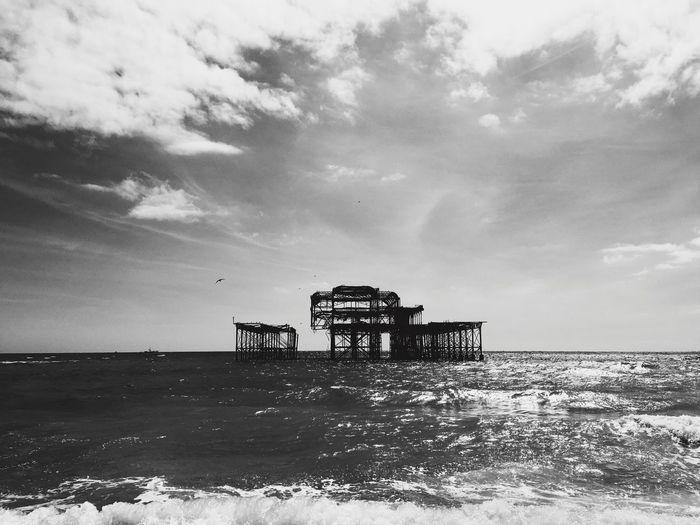 Brighton Pier Amidst Sea Against Sky
