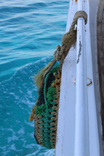 Hurghada This Is Egypt Blueish Boat Close-up Day Egypt Style Greenish Hurghada Lifebelt Nautical Vessel No People Outdoors Rope Sea Ship Tied Knot Tied Up Turquoise Water