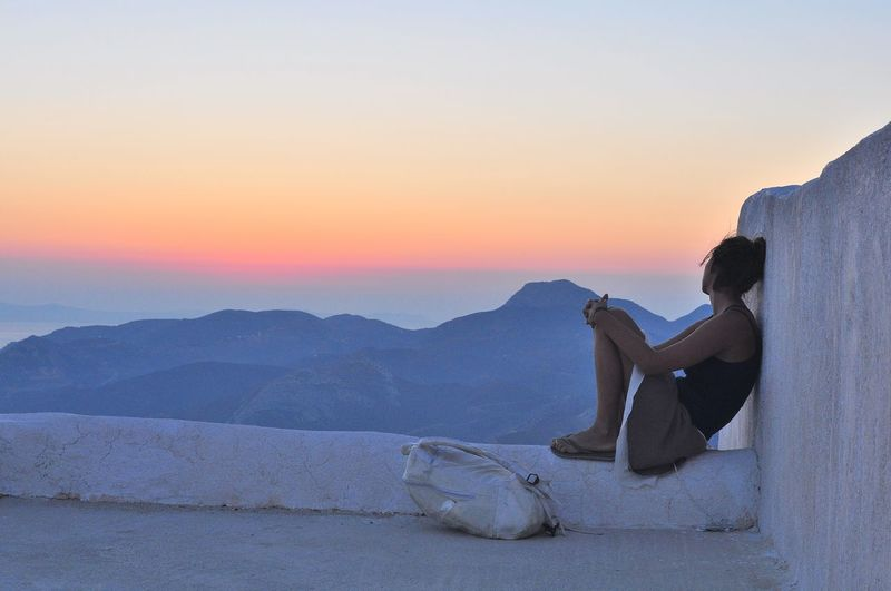sehnsucht Authentic Moments Beauty Beauty In Nature Calm Capture The Moment Clear Sky Evening Sky Eye Em Around The World Girl Greece Idyllic Longing Majestic Mountain Nature Orange Color Relaxation Remote Romantic Sky Scenics Solitude Sunset Tranquil Scene Tranquility Wanderlust