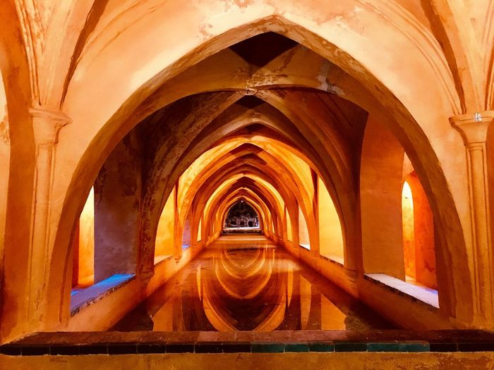 Warmth and light ahead SPAIN Real Alcazar Real Alcazar De Sevilla Seville Spain Sevilla Seville Arch Architecture Built Structure No People History Indoors  The Past Architectural Column Building Illuminated Day Tourism Diminishing Perspective Arched The Way Forward Travel Destinations