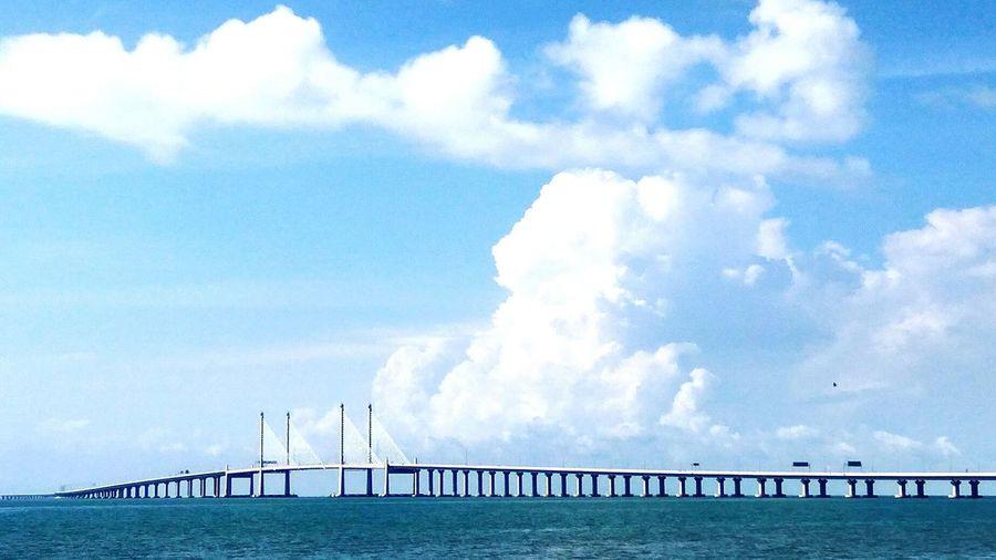 Penang Second Bridge Blue Cloudy Sky Ocean Sea Architecture