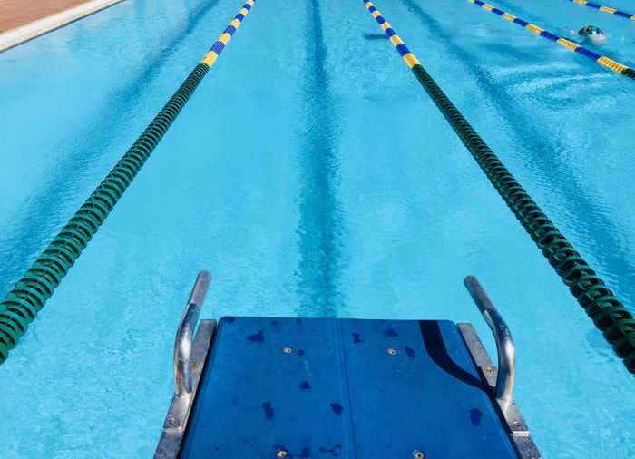 Blue Pool Blue Swimming Pool Water Day Swimming Lane Marker High Angle View Turquoise Colored Outdoors Sport Backgrounds Close-up Symmetry Standing Water