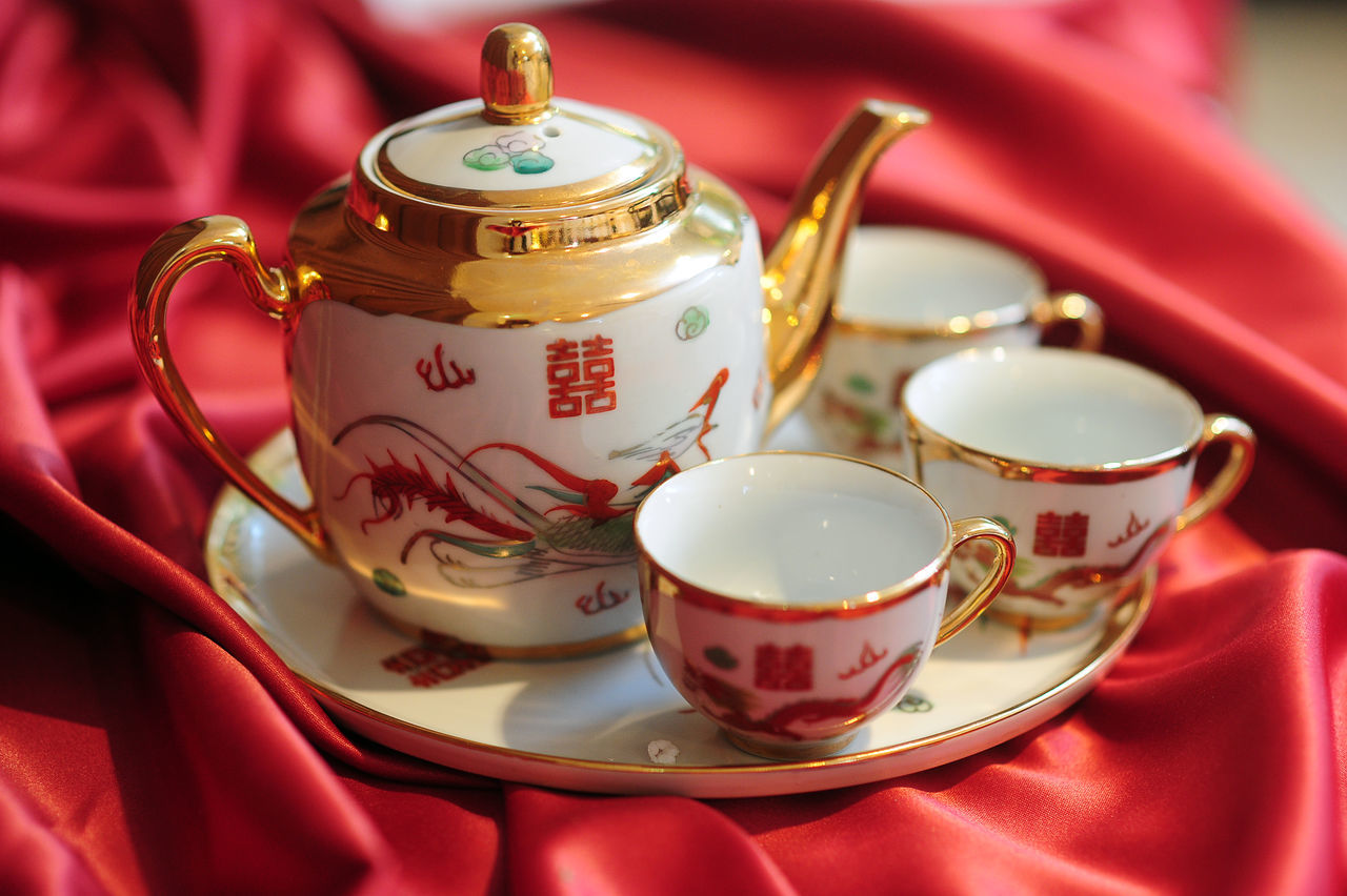 High Angle View Of Tea Cups And Teapot On Tray
