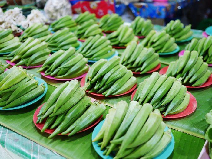 Okras for sale at market