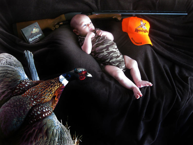 Babyboy Camouflage Clothing Gendered Photography Nativity Scene Pheasants Remington Strange Portraits Taxidermy Art