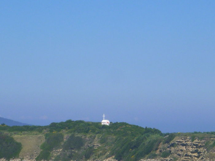 Beauty In Nature Blue Chapel At The Top Of The Mountain! Day Green Color Hill Idyllic Landscape Mountain Nature No People Non-urban Scene Outdoors Remote San Stefanos, Corfu. Greece Scenics Sky Tourism Tranquil Scene Tranquility Travel Destinations