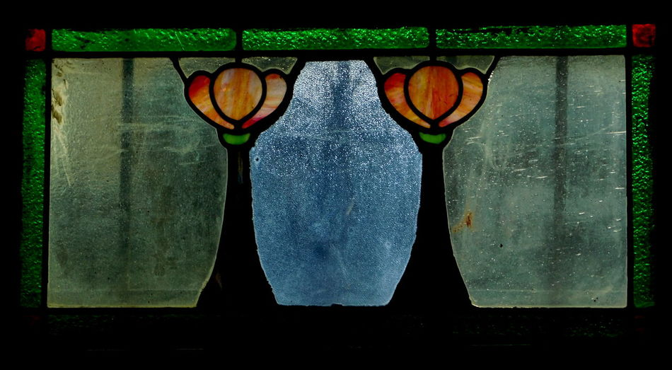 Window. Close-up Design Glass Art Indoors  Old-fashioned Showcase March Single Object Still Life Tinted Glass Window