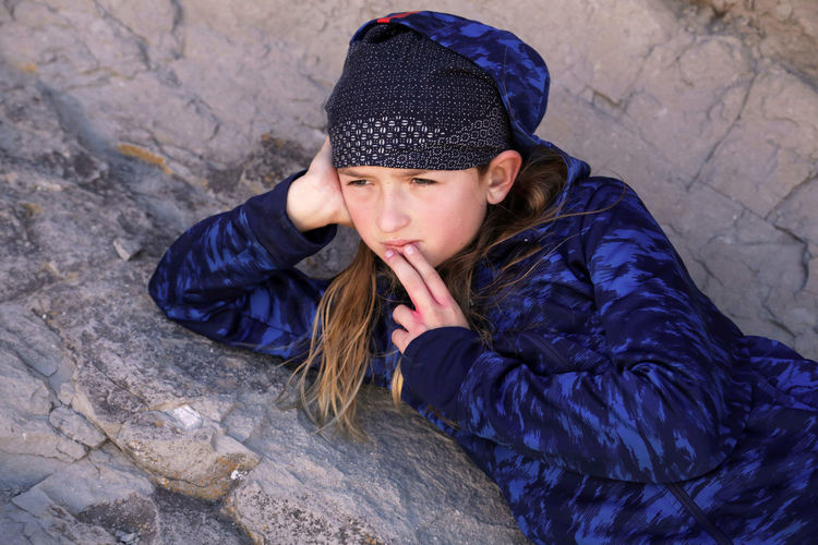 High angle view of girl wearing hat