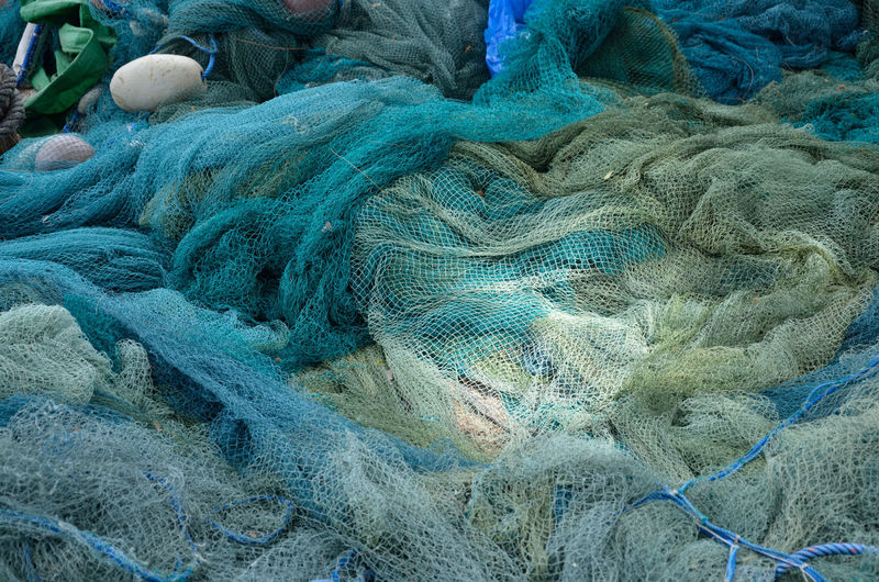 High Angle View Of Fishing Nets