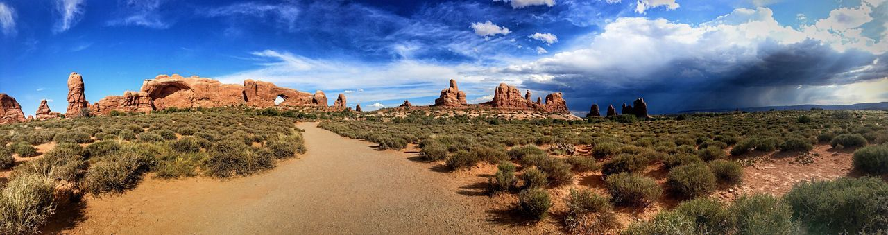 Arches National Park Utah USA Cloud - Sky Sky Plant Nature Panoramic Group Of People Land Real People Tree Architecture Day Beauty In Nature Growth History Lifestyles Women Men Scenics - Nature Built Structure Outdoors