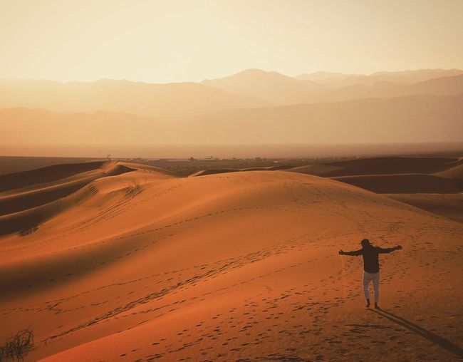 Carefree Man With Arms Outstretched Standing At Desert
