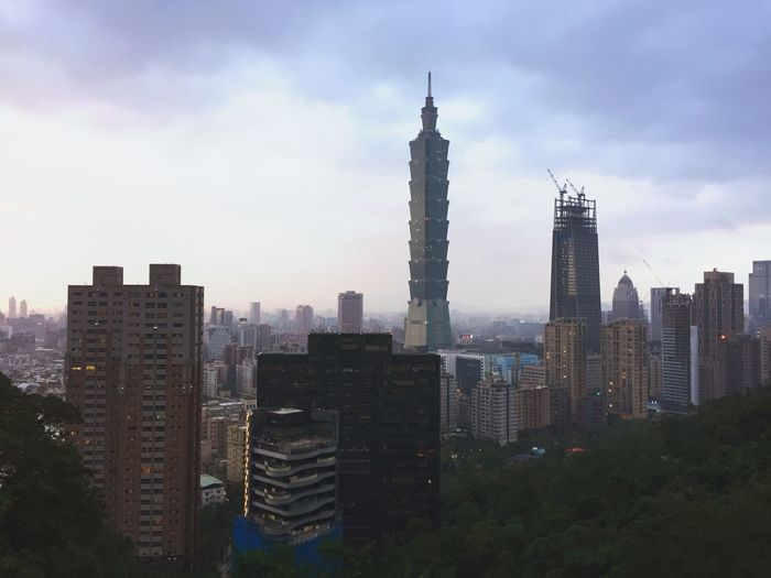 View of skyscrapers in city