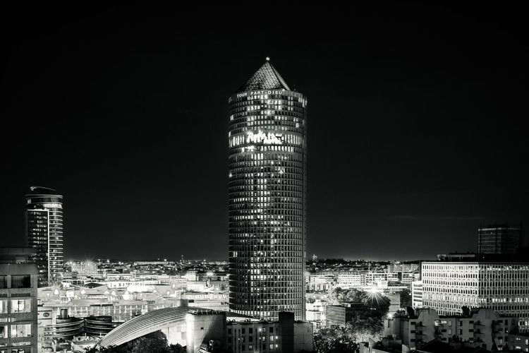 700D EOS EOS700D France Lyon Nightphotography Architecture Blackandwhite Building Building Exterior Built Structure Bynight Canon Canonphotography City Cityscape Europe Financial District  Illuminated Night Nightscape Skyscraper Tower Urban Skyline
