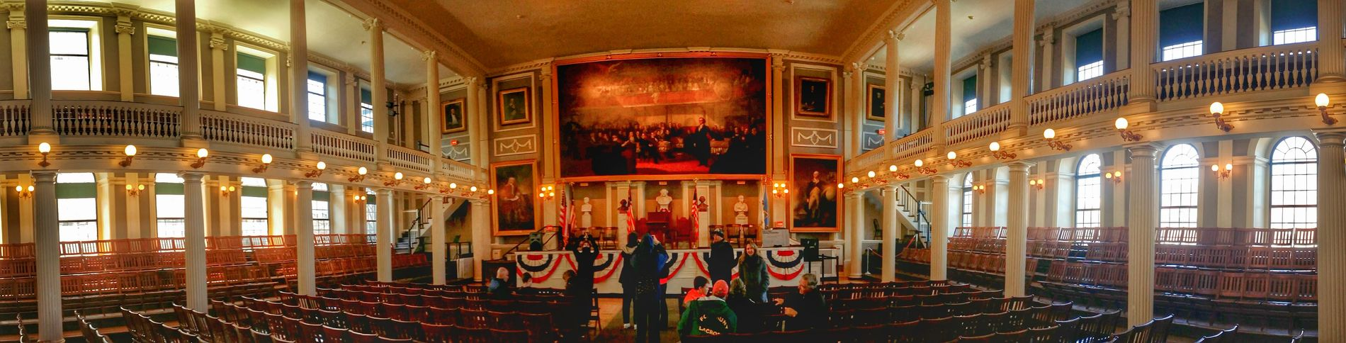 A panoramic of the Great Hall at Faneuil Hall. Important speeches were given here, be sure to check it out on the second floor. Boston Faneuil Hall Being A Tourist