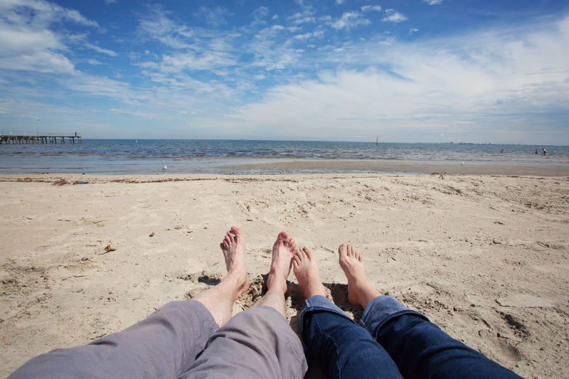 A couple sitting on beach. Pov wide angle shot. Melbourne, Australia. Barefoot Beach Cloud - Sky Horizon Over Water Human Body Part Human Foot Human Leg Leisure Activity Low Section Melbourne City Nature Personal Perspective POV Real People Sand Sea Sky Tranquility Water Wide Shot