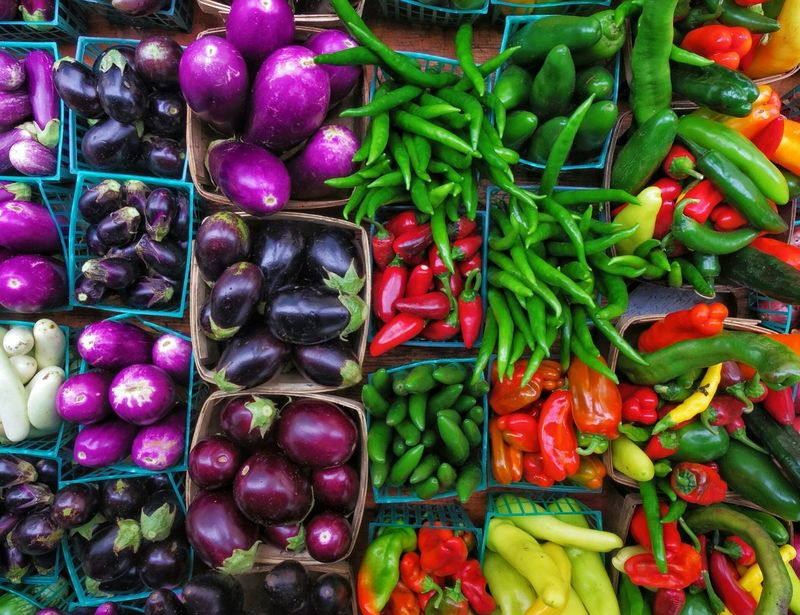 Get your cooking on!!! Nature's Bounty PENTAX Q7 Existing Light Photography Close Up Outdoors Farmers Market Multi Colored Vegetable Variation Market Choice Basket Food And Drink For Sale Display Raw Various Market Stall Stall