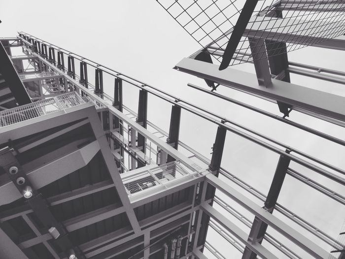 Railing Staircase Built Structure Architecture Steps And Staircases The Shard Low Angle View Day Balcony Steps Sky Blackandwhite No People in London EyeEmNewHere The Architect - 2017 EyeEm Awards The Graphic City