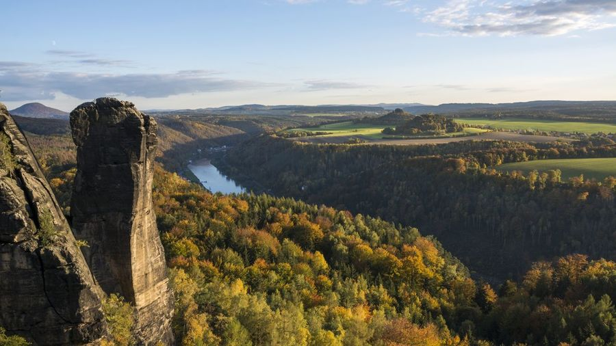 Panoramic view of rock formation in saxon switzerland